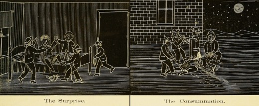 "Two drawings of the ""Scenes of Hazing"", as printed in the 1880 Massachusetts Agricultural College yearbook. These actions are now criminal and grounds for expulsion."