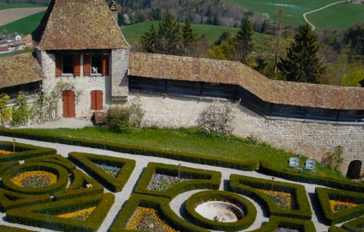 Castle of Gruyeres, Switzerland; French geometrical style gardem  created at the end of 19th century