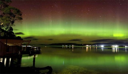 The Northern Lights seen over Australia and Tasmania.