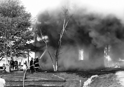 Another photo of the house on fire