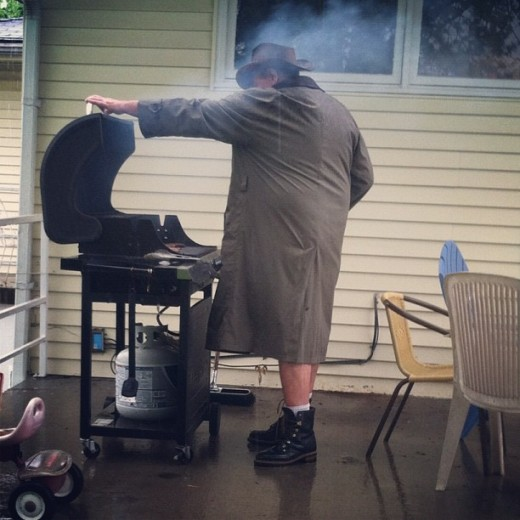 see how he braves the cold and stress to provide his in-laws a delicious meal of tasty barbecue? He knew how to answer his father-in-law's questions.