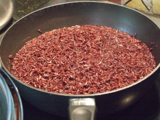 Black rice that now looks purple