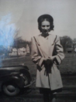 A photo of my mother when she was young in Elma, Iowa. The photo is very old.