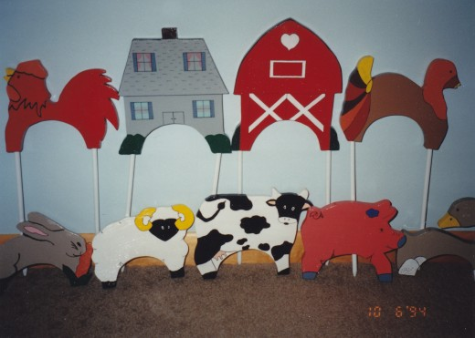 Farm animals, house and barn