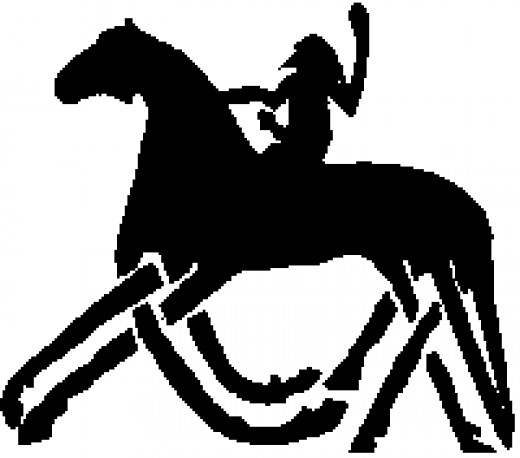 Odin on Sleipnir - a 'sop' from Loki when he was in Odin's bad books. Loki had become a mare to entrap a giant's stallion and 'given birth' to this eight-legged steed.