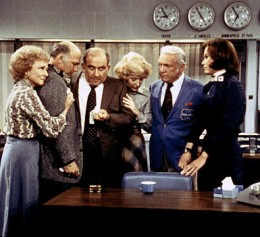 Group hug in the newsroom in the final scene of the Mary Tyler Moore Show