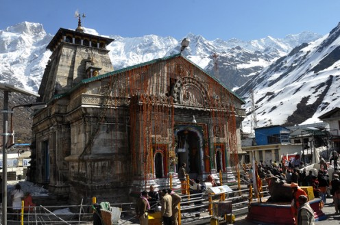 The Kedarnath temple sits amidst ice. It is open only in the summer. For 6 months of the year, the whole temple is buried under snow and ice.