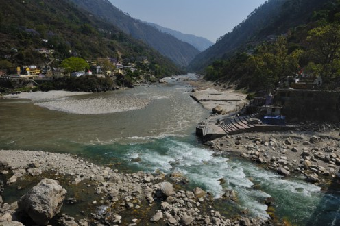 The Karna Prayag is one among the five Prayags in the region. A Prayag is the confluence of rivers. The Alaknanda is seen in brown and the Pindar Gange in turquoise.