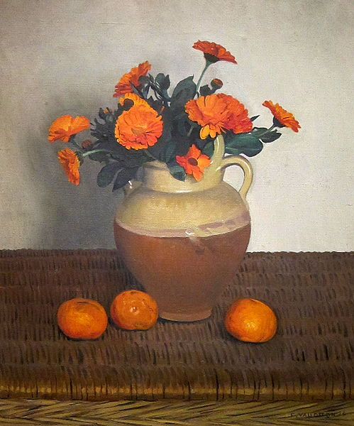 Marigolds and Tangerines, painted in oils in 1924 by Felix Vallotton.