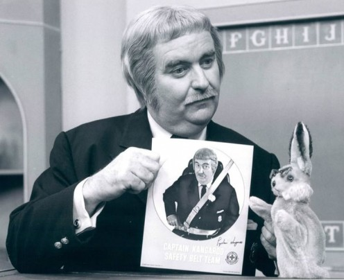 Bob Keeshan as Captain Kangaroo and Bunny Rabbit as part of a seat belt campaign.