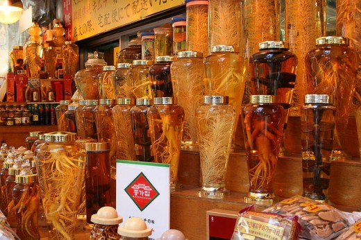 Ginseng And Mushrooms For Sale In Bottles In China Town In New York City