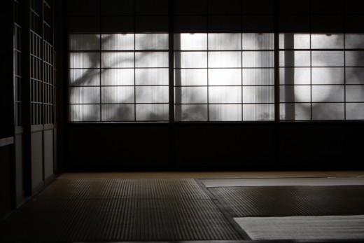 Eerie tree shadows on shoji screens, Japan.