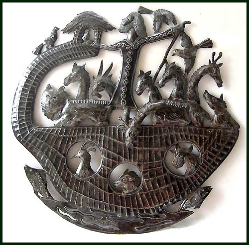 'Noah's Ark' sculpture fashioned from recycled steel drums.