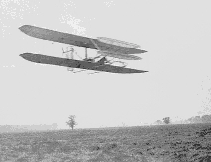 Wilbur Wright in 1904, flying almost four circles of Huffman Prairie, now part of Wright Patterson Air Force Base.