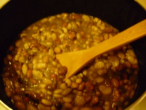 Your beans won't take as long to cook if you soak your beans the night before.