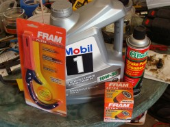 The oil filter, correct oil for your vehicle and brake cleaner are all needed for the oil change.  A oil filter wrench is helpful but not necessary.