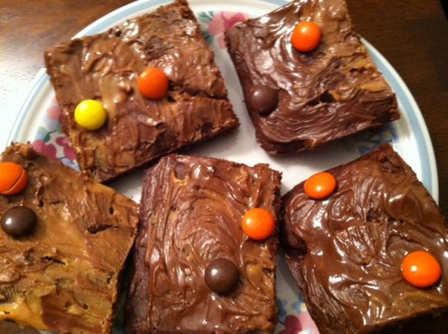 Chocolate walnut brownies with peanut butter frosting and Reese's Pieces candy.