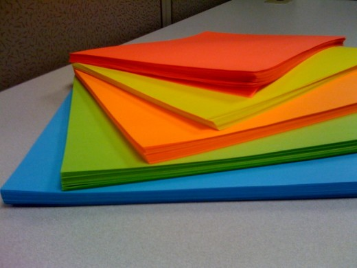 Write a story on colored paper