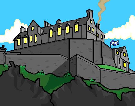 A cartoon drawing of Edinburgh castle.