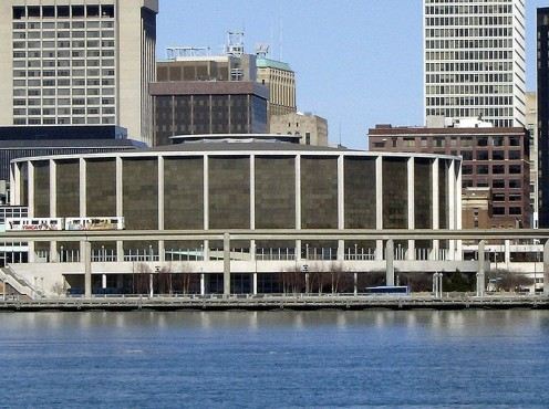 The COBO Center as seen from Windsor Ontario, across the Detroit River.