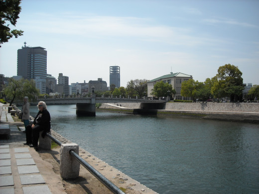 View of Hiroshima City from one of its rivers.