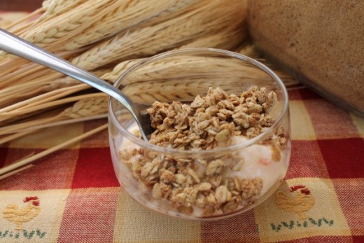 Organic Granola on top of yogurt