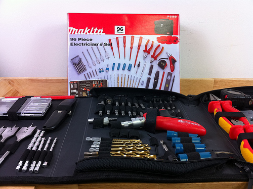 A small tool kit for a car or truck.