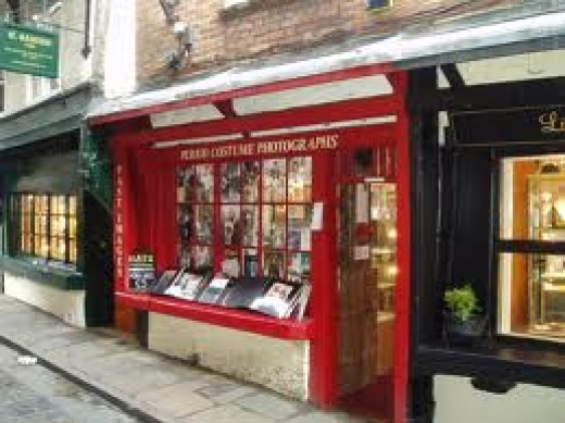 One of the Whitby Jet retailers below the abbey hill. Virtually the whole of Church Street is occupied by shopkeepers selling jet ornaments and jewellery