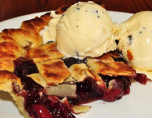 Hot cherry pie with ice cream