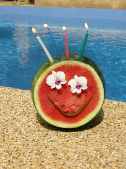 Now that is one fancy birthday watermelon!