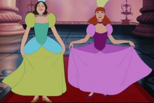 Drizella and Anastasia in their ball gowns