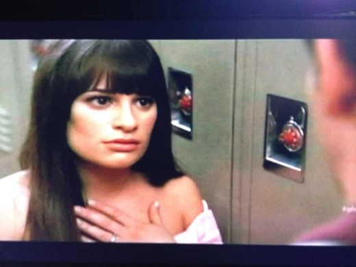 Rachel reacts to Finn's sudden change of heart.
