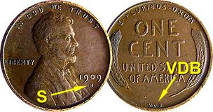 This image gives you a better look at the mint mark and initials of the 1909-S VDB Wheat penny.