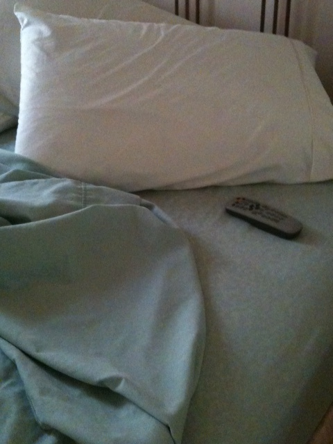 The remote and soft pillows beckon me back to bed.