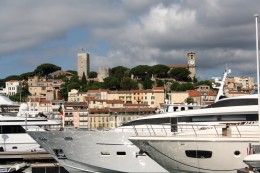 Le Suquet, for centuries a fort to protect against coastal raiders, is noe a museum--with a great view of the Port of Cannes (foreground).