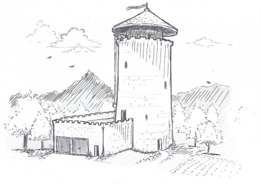 Tall Castle Drawing Stone Castle Tower Drawing