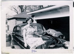 A lot has changed since this pretty girl posed on the family car. Time was the family car was used for work, errands and vacations.