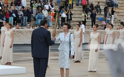 Princess Anne Accepts the Olympic Flame in Athens, which will make then its journey through England starting in Cornwall.