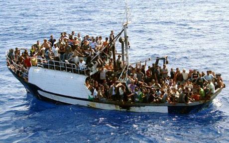 Tunisian refugees off of Lampedusa island, Italy