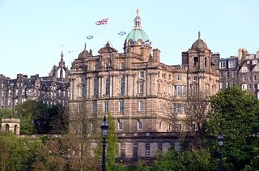 The Bank of Scotland, a majestic building in the center of Edinburgh