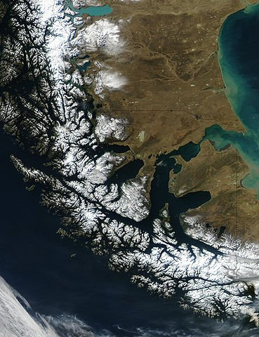 A partial view of the Straits of Magellan, and the surrounding area.