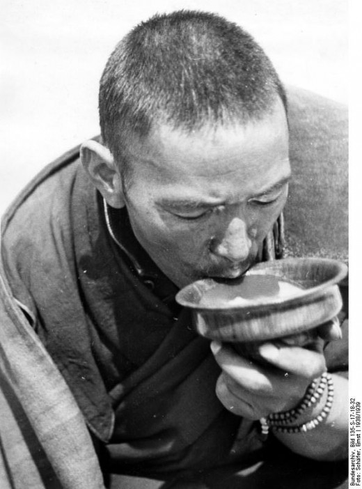 Monk with Butter Tea