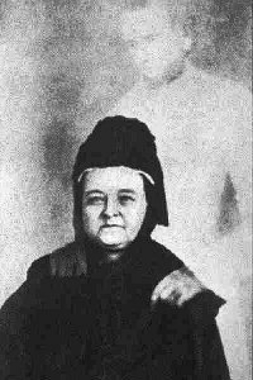 Spirit photograph of Mary Todd Lincoln.