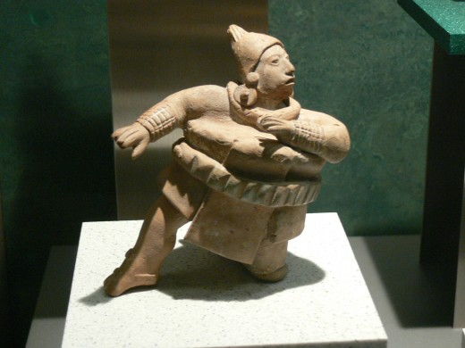 National Museum of Anthropology in Mexico City. Figure of a pelota player.