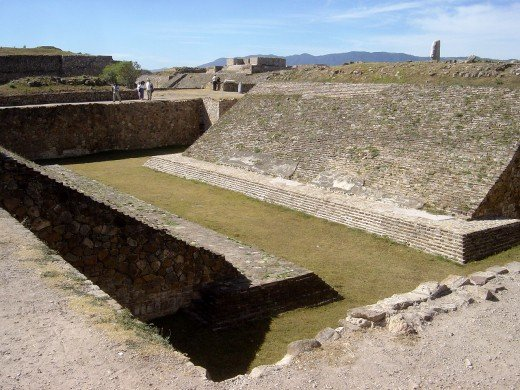 Ancient ball court of Monte Alban, in the Oaxaca region of Mexico.