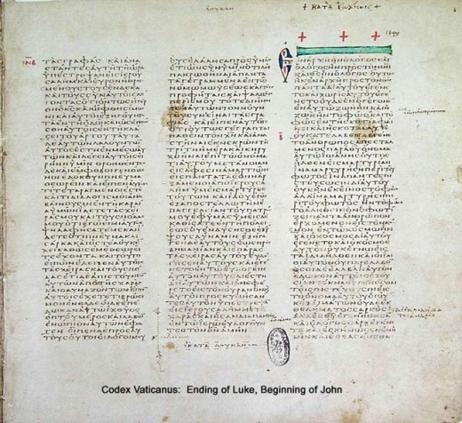 Codex Vaticanus (End of the Gospel of Luke). One of two of the first 50 bibles compiled and copied by Eusebius
