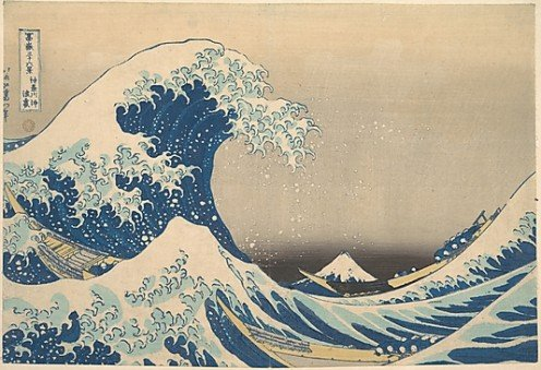 Wave off Kanagawa (Kanagawa oki nami ura), also known as the Great Wave, from the series Thirty-six Views of Mount Fuji (Fugaku sanjûrokkei) Katsushika Hokusai  (Japanese, 1760–1849)