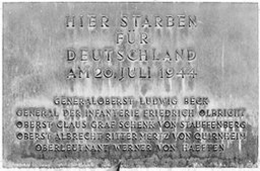 Memorial Plaque , Bendlerblock, Berlin to those killed by their action in the plot to kill Hitler