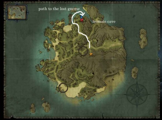 Risen 2 Get Six Shirts from the Gnomes - map showing path to the lost gnome and the location of the termite cave
