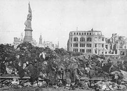 The Bombing of Dresden; casualties piled in the streets